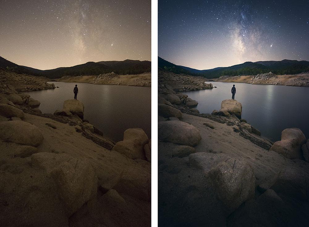 Imagen del antes y el después de la foto tomada por Javier Martínez Morán